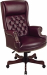 Work Smart Deluxe High Back Traditional Button Tufted Vinyl Executive Chair with Mahogany Finish Legs - Oxblood [TEX228-JT4-FS-OS]