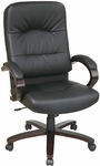 Work Smart Thick Padded Eco Leather and Wood High Back Chair with Built In Lumbar Support - Espresso [WD5380-EC3-FS-OS]