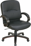 Work Smart Eco Leather Mid Back Chair with Thick Padded Seat and Lumbar Support - Espresso [WD5381-EC3-FS-OS]