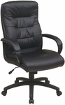 Work Smart High Back Faux Leather Executive Chair with Padded Loop Arms - Black [FL7480-U6-FS-OS]