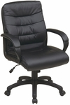 Work Smart Mid Back Faux Leather Executive Chair with Padded Loop Arms - Black [FL7481-U6-FS-OS]