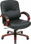 Work Smart Mid-Back Executive Eco Leather Chair with Built In Lumbar Support and Pneumatic Seat Adjustment - Cherry [WD5671-EC3-FS-OS]