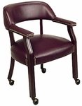 Work Smart Traditional Mahogany Guest Chair with Wrap-Around Back and Casters - Oxblood [TV231-JT4-FS-OS]