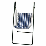 Soft Comfort Cushion Soft Polyester Hanging Hammock Rope Chair with Bronze Frame - Tropical Palm Stripe Blue [1525135142BR-FS-ALG]