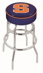 Syracuse University 25'' Chrome Finish Double Ring Swivel Backless Counter Height Stool with 4'' Thick Seat [L7C125SYRCSE-FS-HOB]