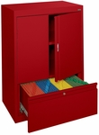 System Series 30'' W 18'' D x 42'' H Double Door Storage with File Drawer - Red [HFDF-301842-01-EEL]