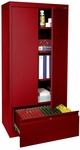 System Series 30'' W x 18'' D x 64'' H Storage Cabinet with File Drawer - Red [HADF-301864-01-EEL]