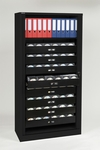 Tambour Door Cabinets Bisley 78'' With Eight Full Media Storage Drawers and One Binder Bookshelf in Black [TAMK4-BK-FS-EOS]