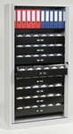 Tambour Door Cabinets Bisley 78'' with Eight Full Media Storage Drawers and One Binder Bookshelf in Gray [TAMK4-LG-FS-EOS]