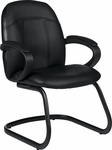 Tamiri QuickShip Genuine and Mock Leather Combo Armchair - Black [4522-450-550-FS-GLO]