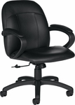 Tamiri QuickShip Genuine and Mock Leather Combo Executive Low Back Tilter Chair with Loop Arms - Black [4527-450-550-FS-GLO]