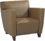 OSP Furniture Leather Club Chair with Cherry Finish - Taupe [SL8871-FS-OS]