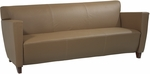 OSP Furniture Leather Sofa with Cherry Finish - Taupe [SL8873-FS-OS]