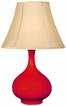 Splash Ceramic Teardrop 25.5''H Table Lamp with Sewn Beige Shade - Red [12T276RD-FS-PAS]