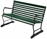 Terrace Style Russian Hardwood Slat and Black Steel Frame Bench with Arms - Green [71123-FS-ALG]