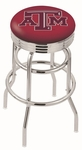 Texas A&M University 25'' Chrome Finish Double Ring Swivel Backless Counter Height Stool with Ribbed Accent Ring [L7C3C25TEXA-M-FS-HOB]