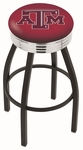 Texas A&M University 25'' Black Wrinkle Finish Swivel Backless Counter Height Stool with Ribbed Accent Ring [L8B3C25TEXA-M-FS-HOB]