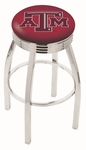 Texas A&M University 25'' Chrome Finish Swivel Backless Counter Height Stool with 2.5'' Ribbed Accent Ring [L8C3C25TEXA-M-FS-HOB]