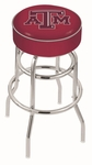 Texas A&M University 25'' Chrome Finish Double Ring Swivel Backless Counter Height Stool with 4'' Thick Seat [L7C125TEXA-M-FS-HOB]