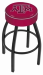Texas A&M University 25'' Black Wrinkle Finish Swivel Backless Counter Height Stool with 4'' Thick Seat [L8B125TEXA-M-FS-HOB]