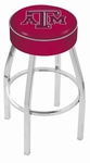 Texas A&M University 25'' Chrome Finish Swivel Backless Counter Height Stool with 4'' Thick Seat [L8C125TEXA-M-FS-HOB]