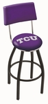 Texas Christian University 25'' Black Wrinkle Finish Swivel Counter Height Stool with Cushioned Back [L8B425TEXCHR-FS-HOB]