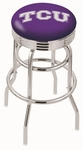 Texas Christian University 25'' Chrome Finish Double Ring Swivel Backless Counter Height Stool with Ribbed Accent Ring [L7C3C25TEXCHR-FS-HOB]