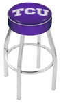 Texas Christian University 25'' Chrome Finish Swivel Backless Counter Height Stool with 4'' Thick Seat [L8C125TEXCHR-FS-HOB]