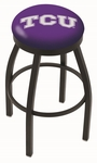 Texas Christian University 25'' Black Wrinkle Finish Swivel Backless Counter Height Stool with Accent Ring [L8B2B25TEXCHR-FS-HOB]