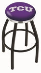 Texas Christian University 25'' Black Wrinkle Finish Swivel Backless Counter Height Stool with Chrome Accent Ring [L8B2C25TEXCHR-FS-HOB]