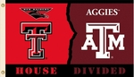 Texas Tech - Texas A & M 3' X 5' Flag with Grommets - Rivalry House Divided [95927-FS-BSI]