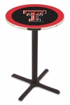 Texas Tech University 36''H Black Wrinkle Finish Counter Height Pub Table with X-Base [L211B36TXTECH-FS-HOB]