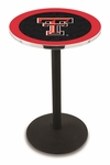 Texas Tech University 36''H Black Wrinkle Finish Counter Height Pub Table with Round Base [L214B36TXTECH-FS-HOB]