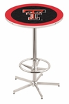 Texas Tech University 42''H Chrome Finish Bar Height Pub Table with Foot Ring [L216C42TXTECH-FS-HOB]