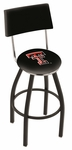 Texas Tech University 25'' Black Wrinkle Finish Swivel Counter Height Stool with Cushioned Back [L8B425TXTECH-FS-HOB]