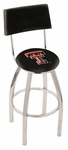 Texas Tech University 25'' Chrome Finish Swivel Counter Height Stool with Cushioned Back [L8C425TXTECH-FS-HOB]