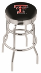 Texas Tech University 25'' Chrome Finish Double Ring Swivel Backless Counter Height Stool with Ribbed Accent Ring [L7C3C25TXTECH-FS-HOB]