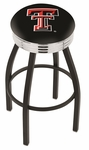 Texas Tech University 25'' Black Wrinkle Finish Swivel Backless Counter Height Stool with Ribbed Accent Ring [L8B3C25TXTECH-FS-HOB]