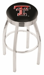 Texas Tech University 25'' Chrome Finish Swivel Backless Counter Height Stool with 2.5'' Ribbed Accent Ring [L8C3C25TXTECH-FS-HOB]