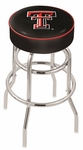 Texas Tech University 25'' Chrome Finish Double Ring Swivel Backless Counter Height Stool with 4'' Thick Seat [L7C125TXTECH-FS-HOB]