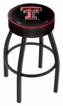 Texas Tech University 25'' Black Wrinkle Finish Swivel Backless Counter Height Stool with 4'' Thick Seat [L8B125TXTECH-FS-HOB]