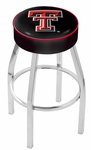 Texas Tech University 25'' Chrome Finish Swivel Backless Counter Height Stool with 4'' Thick Seat [L8C125TXTECH-FS-HOB]
