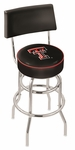 Texas Tech University 25'' Chrome Finish Swivel Counter Height Stool with Double Ring Base [L7C425TXTECH-FS-HOB]