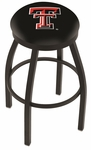 Texas Tech University 25'' Black Wrinkle Finish Swivel Backless Counter Height Stool with Accent Ring [L8B2B25TXTECH-FS-HOB]