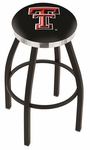 Texas Tech University 25'' Black Wrinkle Finish Swivel Backless Counter Height Stool with Chrome Accent Ring [L8B2C25TXTECH-FS-HOB]