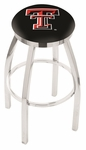 Texas Tech University 25'' Chrome Finish Swivel Backless Counter Height Stool with Accent Ring [L8C2C25TXTECH-FS-HOB]