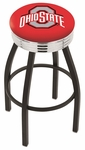 The Ohio State University 25'' Black Wrinkle Finish Swivel Backless Counter Height Stool with Ribbed Accent Ring [L8B3C25OHIOST-FS-HOB]
