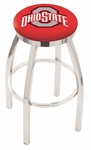 The Ohio State University 25'' Chrome Finish Swivel Backless Counter Height Stool with Accent Ring [L8C2C25OHIOST-FS-HOB]