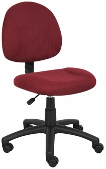 Deluxe Thick Padded Armless Task Chair With Lumbar Support And Nylon Base B