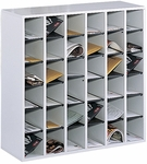 Thirty-Six Compartment 33.75'' W x 12'' D x 32.75'' H Wooden Mail Sorter - Gray [7766GR-FS-SAF]